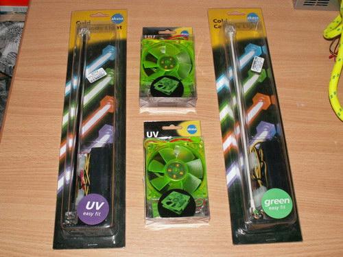 УФ лампа, два вентилятора, зеленая лампа