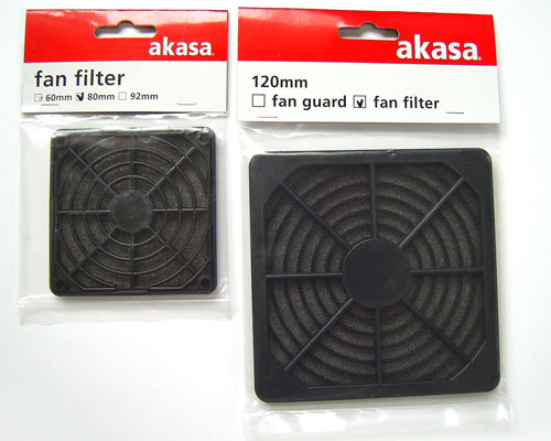 Akasa Fan Filters for 80mm and 120 mm case fans, packed in clear plastic bags