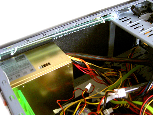 Same sound dampening mats applied to the inner side of top panel of a pc case
