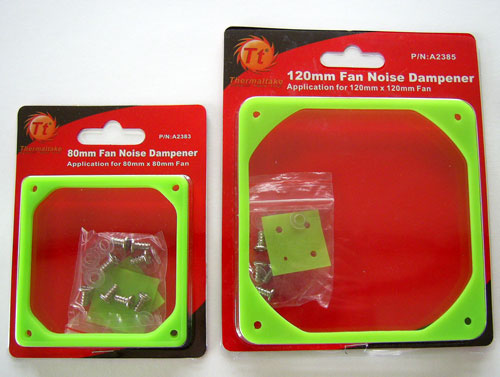 Thermaltake Fan Noise Dampeners for 80 and 120 mm case fans in there packages
