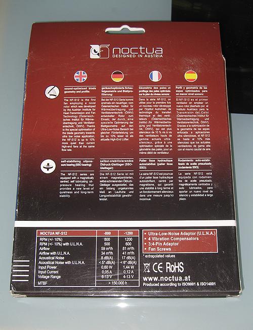 Обратная сторона упаковки Noctua NF-S12-800