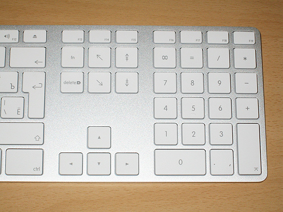 The right side of the Apple Keyboard