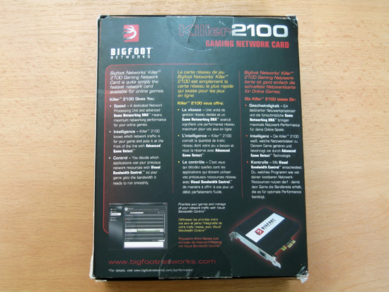 Задняя сторона коробки Killer 2100