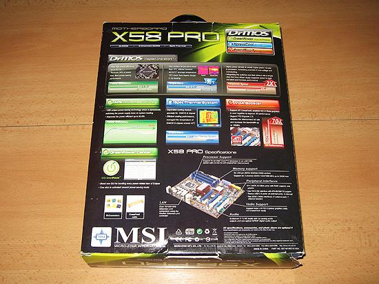 Обратная сторона коробки MSI X58 Pro