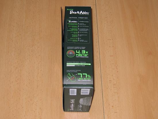 Правая сторона упаковки мышки, среди прочего, содержит сравнение со «стандартной мышкой»