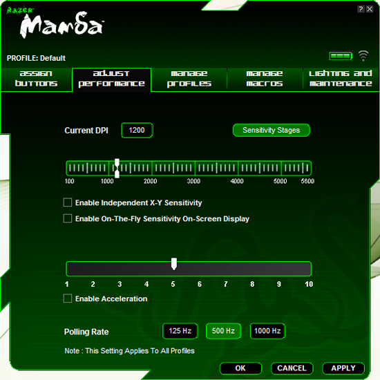 Вкладка настройки производительности Razer Mamba