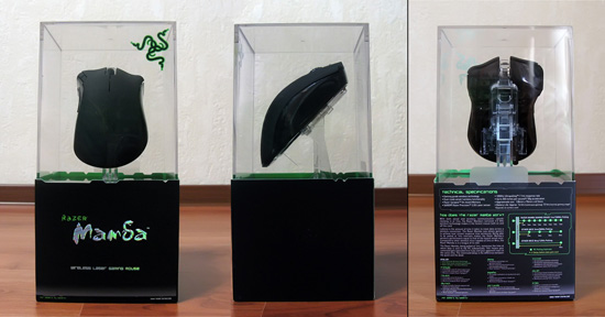 Вид с нескольких сторон на упаковку Razer Mamba