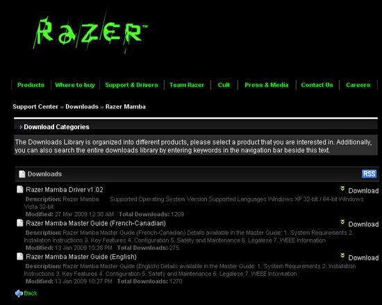 Качаем свежие драйверы для Razer Mamba