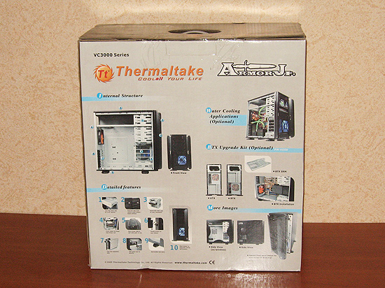 Упаковка корпуса Thermaltake Armor Jr, вид сзади