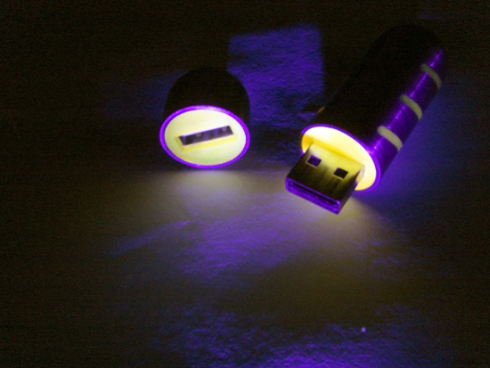 The plastic glows under UV-light