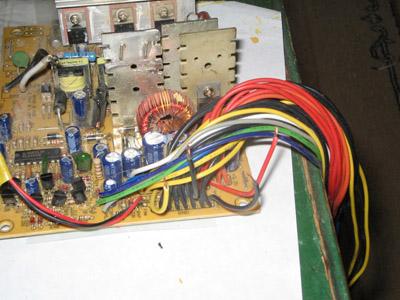 Отрезанные провода на плате БП