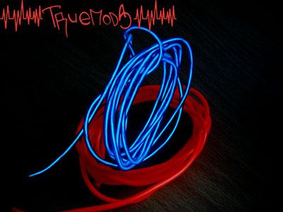 El Wire Kit синего и красного цветов в темноте