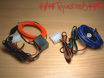 Два шнура El Wire Kit красного и синего цветов