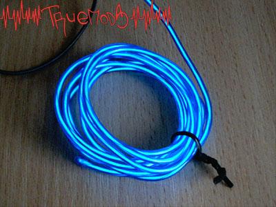 Свечение неонового шнура синего цвета