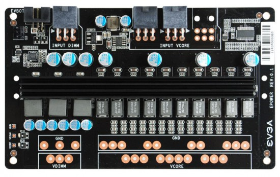 Вид сверху на все компоненты платы EVGA EPower Board