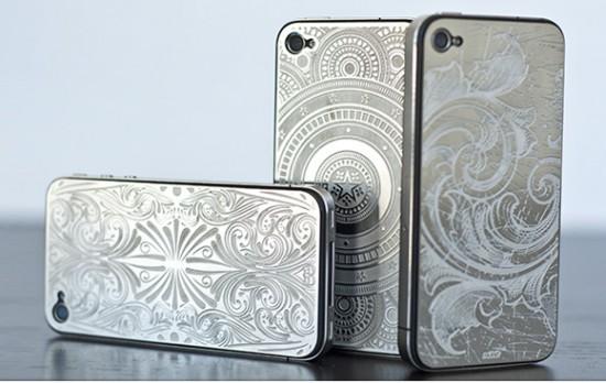 Смартфоны iPhone с установленными Skinit Etched Metal Plates