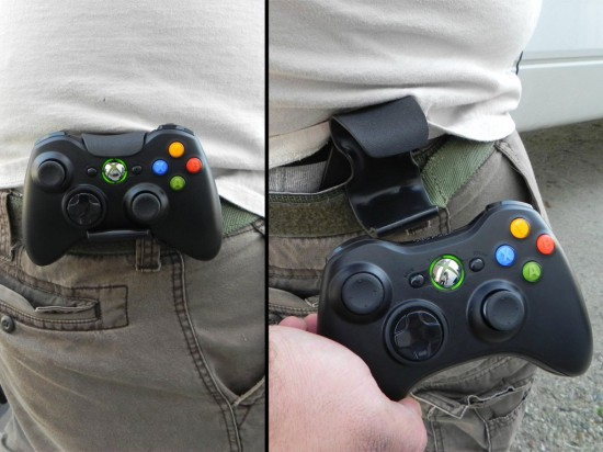 The Console Controller Holster with the Xbox 360 gamepad