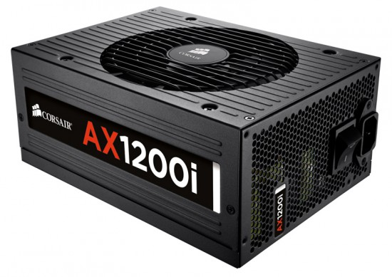 A three quarter view of the Corsair AX1200i PSU