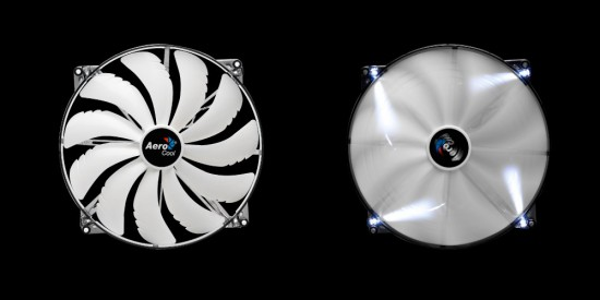 A white version of the SilentMaster 200 case fan form AeroCool