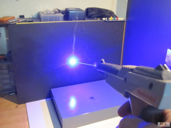 Using the new laser gun in cutting mode