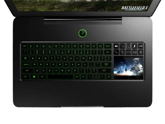 The keyboard and touchscreen trackpad in Razer's Blade