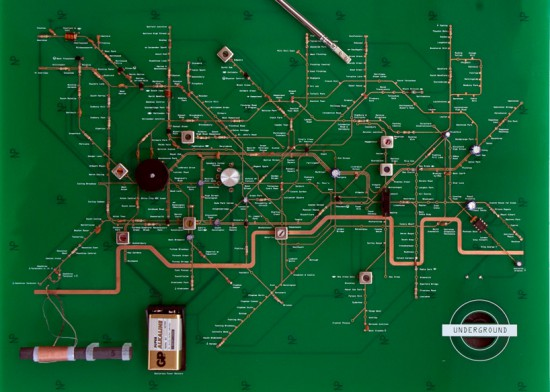 A general view of the Tube Map Radio PCB