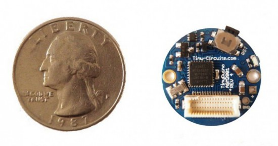 Круглая версия TinyDuino, 20 мм в диаметре (меньше 25 центовой монеты)