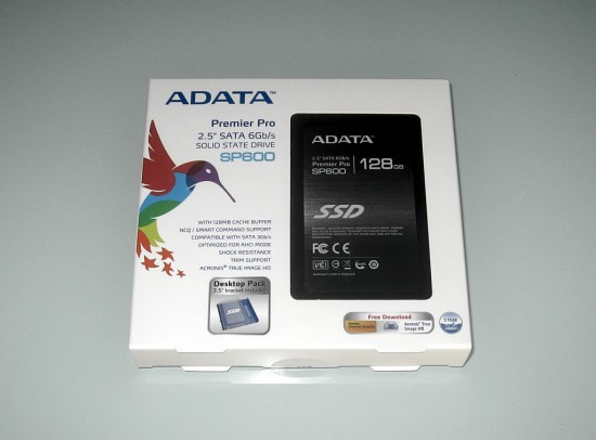 Packaging of ADATA's Premier Pro SP600 solid-state drive