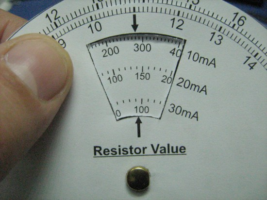 A close-up on the LED Resistor Selector Dial