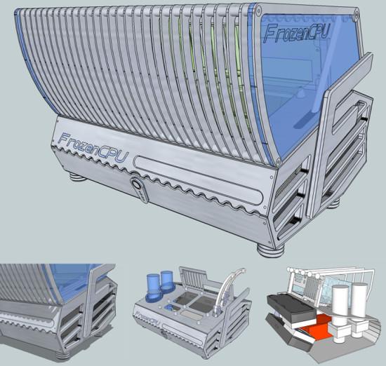 Рендер запланированного дизайна проекта FrozenCPU: Billet Pron Bench
