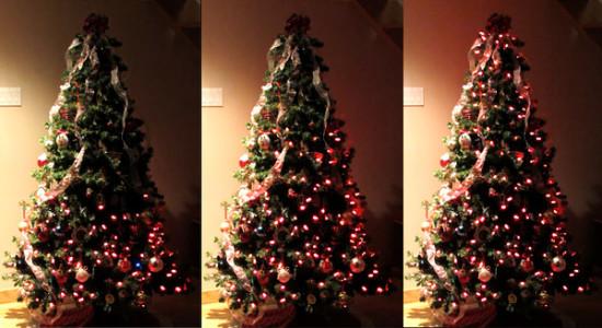 Общий вид гирлянды на новогодней ёлке