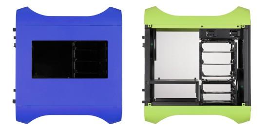 Вид сбоку на новые BitFenix Prodigy с и без боковой стенки