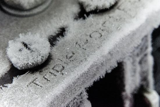 Макросъемка изморози на охладителе