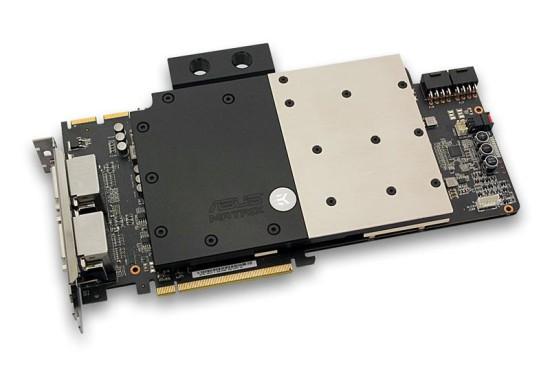 Фулкавер ватерблок EK-FC R9-280X Matrix - Acetal+Nickel, установленный на соответствующую видеокарту