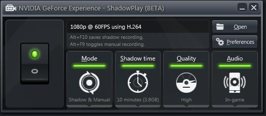 Скриншот панели управления NVIDIA ShadowPlay