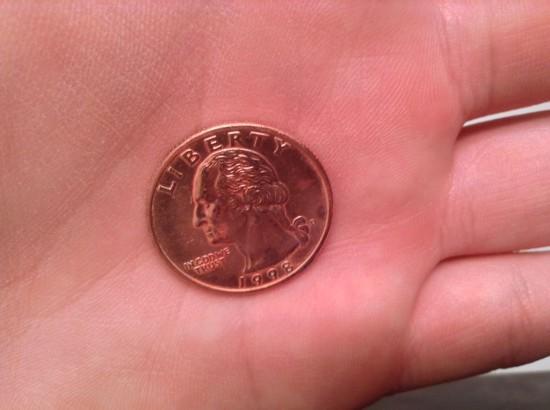 Монета с нанесенным медным покрытием