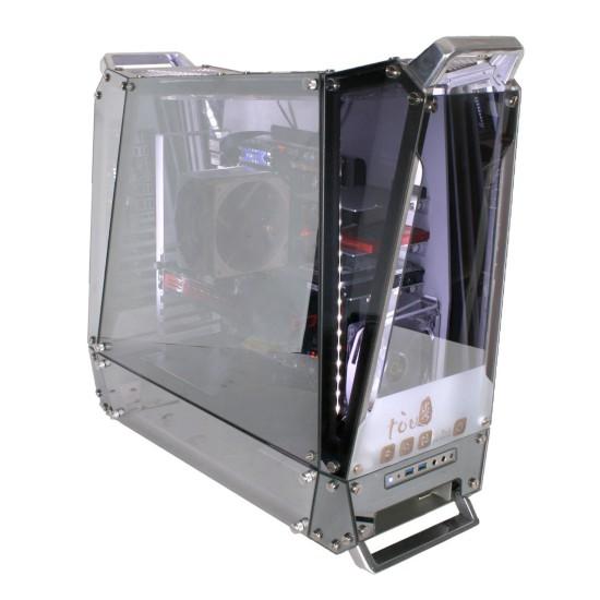 Общий вид корпуса In Win Tou с установленным «железом» и включенной подсветкой