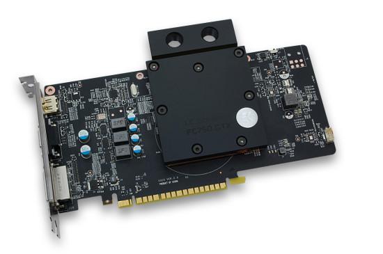 Ватерблок EK-FC750 GTX, установленный на видеокарте