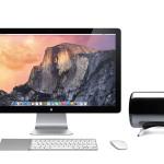 Mac Pro, установленный на подставке рядом с монитором